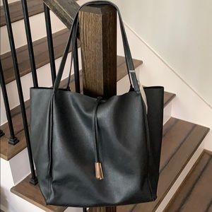 A New Day Black Tote Bag With Gold Accent Bars
